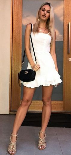 #fall #outfits women's white spaghetti strap top mini dress