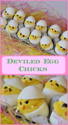 Deviled Egg Chicks Recipe- These Easter favorites are not only delicious, but these Easter chicks are just adorable! A perfect Easter centerpiece using an easy deviled egg recipe. Great for an Easter side dish or appetizer! www.savoryexperiments.com