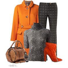 A fashion look from September 2013 featuring gray turtleneck, woolen coat and skinny trousers. Browse and shop related looks.