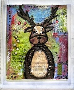 "Mixed Media Art: Christmas Reindeer - based on Christy Tomlinson's ""Winter Whimsy"" class love her stuff!  adorable"