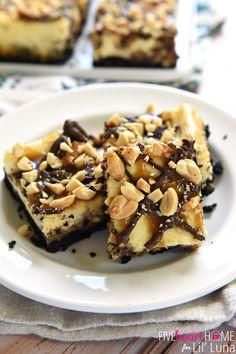 Snickers Cheesecake Bars with Oreo Crust | FiveHeartHome.com for LilLuna.com
