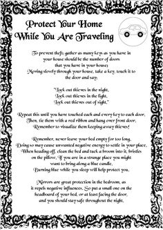 Magick Spells: Protect Your Home While You Are Traveling #Spell.