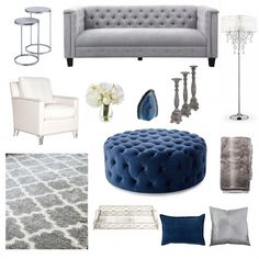 Navy blue, white, silver and gray decor inspiration board for living room Navy Blue And Grey Living Room, Navy Blue Living Room, Glam Living Room, Blue Living Room Furniture, Living Room Decor Colors, My New Room, Gray Decor, Decoration, Future