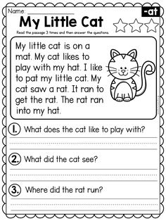 English Worksheets For Kindergarten, Kindergarten Reading Activities, Reading Worksheets, Phonics Activities, Literacy, Reading Comprehension Grade 1, Phonics Reading, Reading Passages, 1st Grade Writing