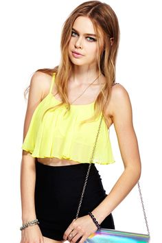 ROMWE | ROMWE Crop Loose Sheer Yellow Camisole Vest, The Latest Street Fashion #RomwebeyondtheColor Latest Street Fashion, Urban Fashion, Only Fashion, Womens Fashion, Yellow Top, Dressed To Kill, Romwe, Shirt Blouses, Camisole Top