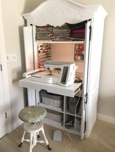 A DIY Sewing Cabinet From An Old Media Armoire makes a perfect small sewing spac. - A DIY Sewing Cabinet From An Old Media Armoire makes a perfect small sewing space. Sewing Room Design, Sewing Room Storage, Sewing Room Decor, Craft Room Storage, Diy Storage, Room Organization, Storage Ideas, Sewing Studio, Craft Rooms