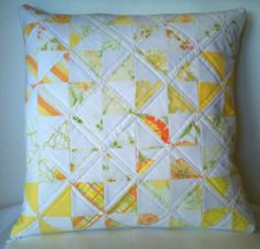 Handmade quilted pillow cover - yellow pinwheel patchwork vintage sheets