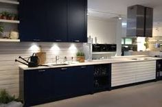 Image result for blue and wood kitchen