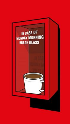 * in case of Monday morning break glass Coffee And Books, I Love Coffee, My Coffee, Best Coffee, Coffee Photos, Coffee Pictures, Coffee Cafe, Coffee Shop, Coffee Jokes