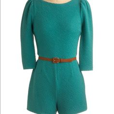 Teal a second glance romper modcloth EUC worn 2x at most. No belt. ModCloth Dresses