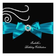 Glitter Teal Diamond Bow Black Birthday Party Personalized Invite