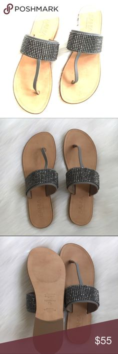 Bohemian Silver beaded flip flops Bohemian Bahia leather flip flops with grey leather thong and silver rhinestones. Made in Italy by Lavorarione Artigiana.      NWOT Lavorarione Artigiana Other