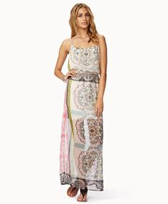 Scarf print chiffon maxi dress, F21