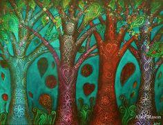 Four Trees by AliceMasonArtist on Etsy, $250.00
