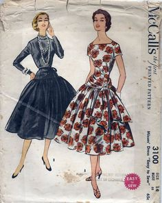 50s Grace Kelly Dress Pattern McCalls 3100 by AnnesVintagePatterns