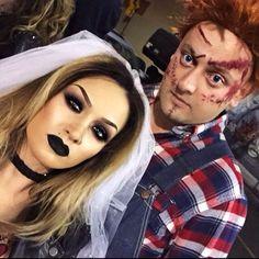 Halloween Makeup : Chucky & his bride. Chucky Halloween, Cute Couple Halloween Costumes, Halloween Kostüm, Halloween Cosplay, Halloween Outfits, Halloween Makeup, Couple Costumes, Bride Of Chucky Makeup, Chucky And His Bride