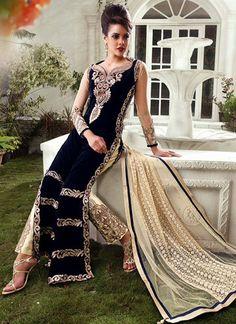 USD 134.58 Navy Blue Velvet Designer Salwar Kameez 42925