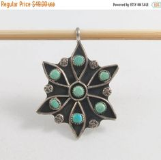 MoThErs dAy SaLe Large Silver Sterling Zuni Petit Point Turquoises Flower Pendant by Framarines on Etsy