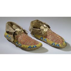 Sioux Quilled and Beaded Hide Moccasins, c. 1875