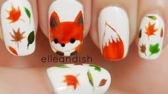 How to paint what does the fox say freehand fox nail art manicure for the fall autumn season step by step DIY tutorial instructions Autumn Nails, Fall Nail Art, Fall Nail Colors, Fall Nail Designs, Cute Nail Designs, Trendy Nails, Cute Nails, Fox Nails, Nail Art 2014