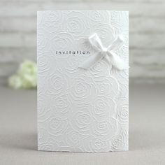 White Ribbon Floral Wedding Invitations – GA 9125 | ItsInvitation