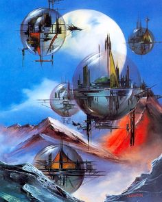 Science fiction and fantasy artwork. Bubble City - Julie Bell I think of it as floating cities more than bubble cities. Sci Fi Fantasy, Fantasy World, Space Fantasy, Julie Bell, Sci Fi City, Bell Art, 70s Sci Fi Art, New Retro Wave, Arte Cyberpunk