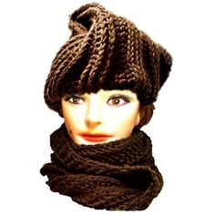 Deitra Warm Soft Versatile Oversized Infinity Scarf Becomes Chunky Turban  Head Wrap Hat Crochet Womens Brown Ribbed Texture 827e262a88