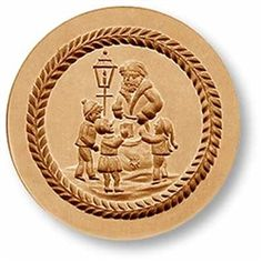 "Giving Presents to Children springerle cookie mold, dia. 2.7"" (68mm)</span><br> $34"