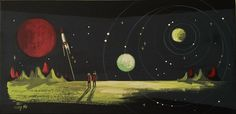 EL GATO GOMEZ PAINTING RETRO 1950'S FUTURISTIC SCI-FI PULP SPACE ROBOT MARTIAN #Modernism
