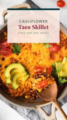 This one-pan cauliflower taco skillet uses riced cauliflower in place of white or brown rice and is made with tons of veggies, beans, and taco fixing. Veggie Dishes, Veggie Recipes, Mexican Food Recipes, Beef Recipes, Vegetarian Recipes, Healthy Recipes, Vegetarian Dinners, Healthy Baked Chicken, Healthy Chicken Dinner