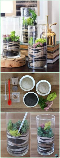DIY Luxious Moss Glass Vase Sand Art Terrariums Instruction - DIY Sand Art Terririum Ideas Projects