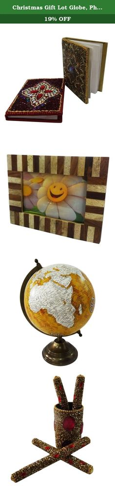 """Christmas Gift Lot Globe, Photo Frame, Pen Pot, Diary Decorative Material Mdf Lac Handmade Table Topper Home Décor Multicolor Set of 4 Pcs. Beautiful Handmade gift lot which include Globe, Diary, Pen Pot and Photo Frame. This ethnic gift lot combine traditional with a modern design, a great accessory for traditional touch. Material, Size and Color- Globe : Material-Plastic and Iron, Size-Stand -12"""" and Plastic Ball-8"""" Inches, Color-Yellow and White Diary : Material-Satin and Lac…"""