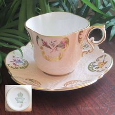 Aynsley 1230 Embossed Square Bone China Flat Tea Cup and Saucer by LauriesFineChina on Etsy