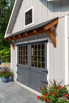 Board And Batten Siding, Farm House Colors, Black Windows, Lean To, Built In Storage, Pool Houses, Coops, Benjamin Moore, Smokey Eye