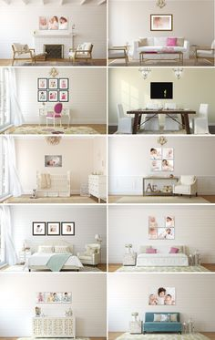 Cottage Chic Collection @ Wall display guides & virtual room scenes for photographers and fine artists by Ariana Falerni Design Portrait Wall, Portrait Ideas, Inspiration Wall, Wall Collage, Wall Art, Photo Displays, Baby Decor, Cottage Chic, Decoration