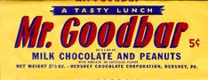 This candy bar, made with milk chocolate and peanuts, has been familiar to Americans since when it was created by Milton Hershey of the Hershey Company. Bars are sold individually, but may be better known in miniature Halloween size. Chocolate Men, Hershey Chocolate, Candy Recipes, Snack Recipes, 1950s Candy, Old School Candy, Vintage Candy, Candy Wrappers, Favorite Candy