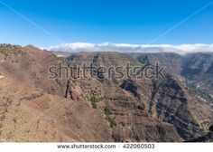 La Gomera. Trail over the Barranco de Arure. The Barranco de Arure is a side valley from the Valle Gran Rey. The long distance trail to the village Arure leads over the left altitude of the ravine
