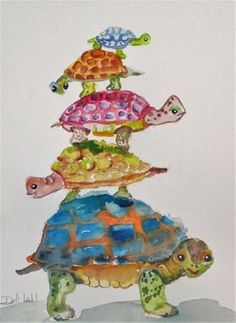 """Daily Paintworks - """"Turtles all the way Down"""" - Original Fine Art for Sale - © Delilah Smith All The Way Down, Whimsical Art, Fine Art Gallery, Art For Sale, Turtles, Disney Characters, Fictional Characters, Watercolor, Artist"""