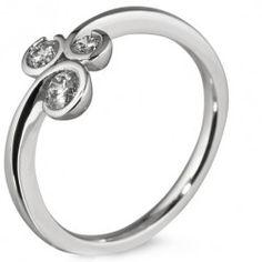 Unique Curl Style Three Stone Diamond Ring