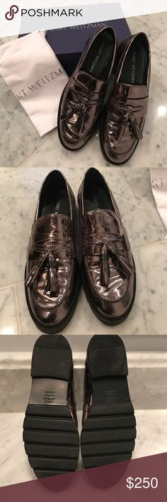 """Stuart Whitman Manila Loafer Color is described as Iron. 1"""" flat heel, penny saver strap with tassels, padded footbed, ridged rubber outside. Made in Spain. Very comfortable like all Stuart Weitzman shoes are! Worn only once. Price is fair and firm 👍🏻 Stuart Weitzman Shoes Flats & Loafers"""