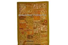 Traditional Indian WallHanging Throw Tapestry Old Embroidery Patchwork Decor Art