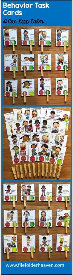 """These Behavior Task Cards (Set 2) Calming Strategies include 1 complete set of """"Go Behaviors/No Behaviors"""" Task Cards with a total of 54 cards included that focus on appropriate strategies for staying or keeping calm, or calming down. What are """"Go Behaviors and No Behaviors?"""" A Go Behavior is a good behavior. This means, """"It's good. It is appropriate. Go ahead and do it."""" A """"No Behavior"""" is a bad behavior. It is inappropriate. This means, """"No. Do not do that behavior."""" In this task card set,"""