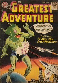 Martian Massacre - Martian Means Well - Trigger-happy - Night-fight - War Of The Worlds Dc Comic Books, Vintage Comic Books, Comic Book Covers, Vintage Comics, Human Puppet, Adventure Time Comics, Scary Alien, Dangerous Games, Kid Flash