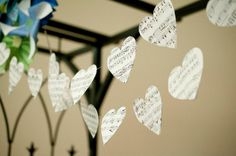 Bunting made from sheet music cut into hearts!