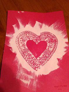 Valentine's Day craft, doily art for kids