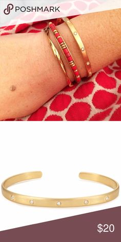 Artisan Cuff Beautiful hand-brushed finish with a hint of sparkle. Adjusts to fit SM - LG wrists. Slightly worn, but in great condition. (Top bracelet on the arm.) Stella & Dot Jewelry Bracelets