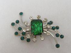 Vintage Emerald Green And Clear Rhinestone by myabbiesattic, $39.99