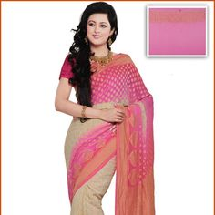 Shaded Cream and Pink Pure Silk Georgette Saree with Blouse