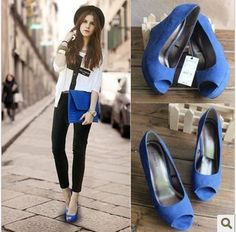 Blue statement shoes w/ matching bag