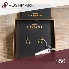 NWT Coach Gold Wishbone Earrings Authentic Coach Gold Wishbone earrings. Classic style. Coach Jewelry Earrings